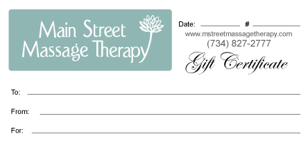 Mainstreet Massage Therapy Gift Certificate
